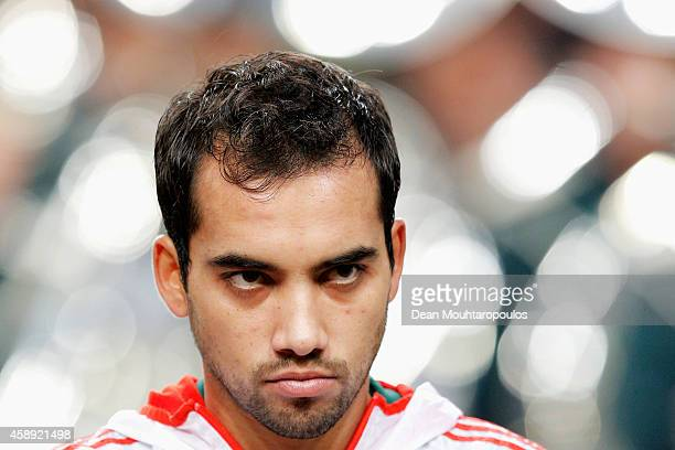 Adrian Aldrete of Mexico stands for the national anthems prior to the international friendly match between Netherlands and Mexico held at the...
