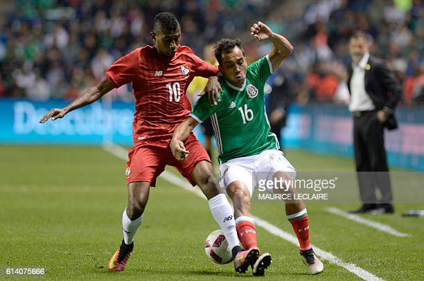 Adrian Aldrete of Mexico vies for the ball with Josiel Nunez of Panama during the friendly match between the Mexican national team and the Panama...