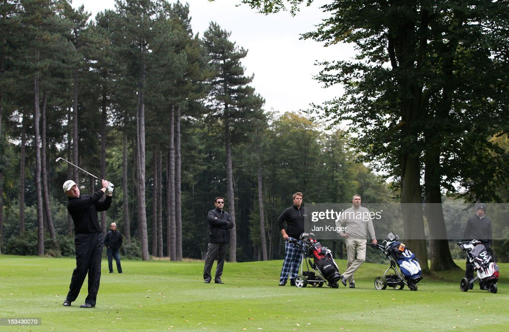 Adrian Ambler of Low Laithes GC in action during the final round of the Skins PGA Fourball Championship at Forest Pines Hotel & Golf Club on October 5, 2012 in Broughton, England.