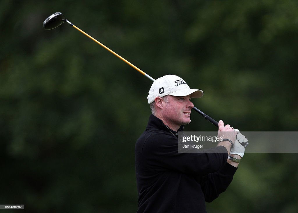 Adrian Ambler of Low Laithes GC plays a tee shot during the final round of the Skins PGA Fourball Championship at Forest Pines Hotel & Golf Club on October 5, 2012 in Broughton, England.