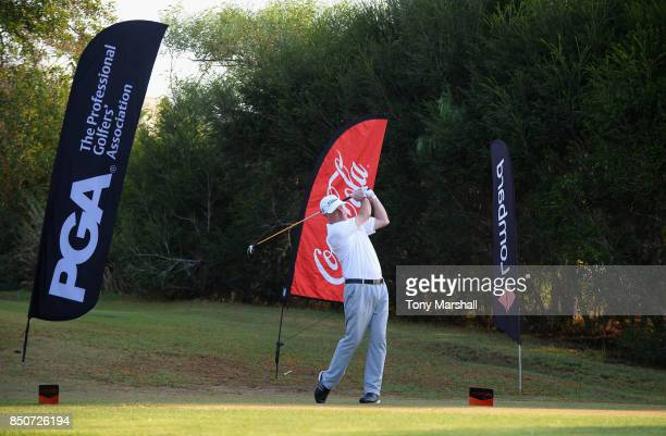 Adrian Ambler of Low Laithes Golf Club plays his first shot on the 1st tee during The Lombard Trophy Final Day One on September 21 2017 in Albufeira...