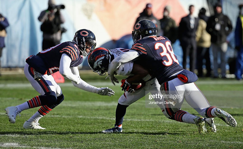 <a gi-track='captionPersonalityLinkClicked' href=/galleries/search?phrase=Adrian+Amos&family=editorial&specificpeople=8489598 ng-click='$event.stopPropagation()'>Adrian Amos</a> #38 and <a gi-track='captionPersonalityLinkClicked' href=/galleries/search?phrase=Kyle+Fuller+-+American+Football+Player&family=editorial&specificpeople=12685110 ng-click='$event.stopPropagation()'>Kyle Fuller</a> #23 of the Chicago Bears bring down <a gi-track='captionPersonalityLinkClicked' href=/galleries/search?phrase=Jordan+Norwood&family=editorial&specificpeople=2089416 ng-click='$event.stopPropagation()'>Jordan Norwood</a> #11 of the Denver Broncos at Soldier Field on November 22, 2015 in Chicago, Illinois. The Broncos defeated the Bears 17-15.