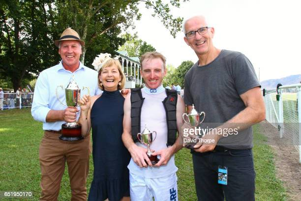 Adrian and Wendy Grantham Siobhan Miller and trainer Andrew Dale after their horse Little Red Devil won Costello Rural / Life Plan Strategic...