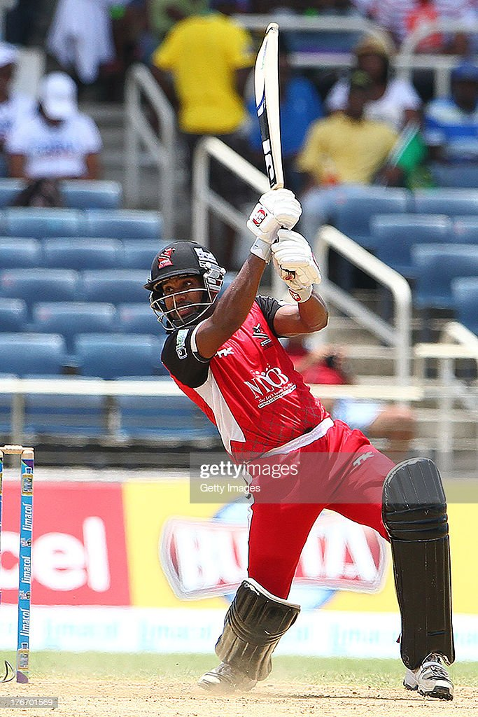 Adrian Barath plays through the offside during the Eighteenth Match of the Cricket Caribbean Premier League between St. Lucia Zouks v Trinidad and Tobago Red Steel at Sabina Park on August 17, 2013 in Kingston, Jamaica.