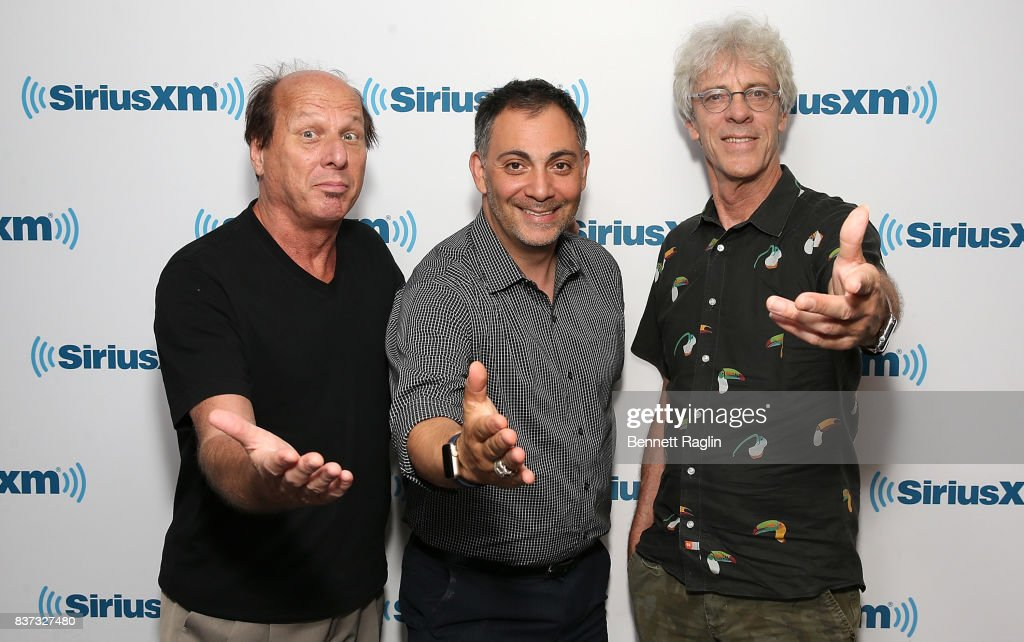 Adrian Belew, Roger Coletti and Stewart Copeland visit SiriusXM at SiriusXM Studios on August 22, 2017 in New York City.