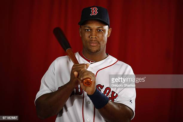 Adrian Beltre of the Boston Red Sox poses during photo day at the Boston Red Sox Spring Training practice facility on February 28 2010 in Ft Myers...