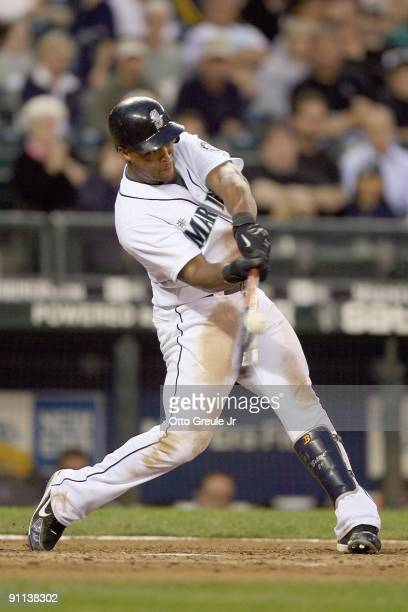 Adrian Beltre of the Seattle Mariners swings at the pitch during the game against the Chicago White Sox on September 17 2009 at Safeco Field in...