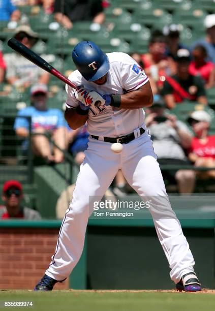 Adrian Beltre of the Texas Rangers at bat against the Chicago White Sox in the bottom of the second inning at Globe Life Park in Arlington on August...