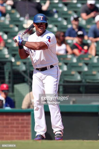 Adrian Beltre of the Texas Rangers at bat against the Chicago White Sox at Globe Life Park in Arlington on August 20 2017 in Arlington Texas