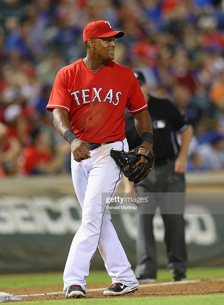 Adrian Beltre #29 of the Texas Rangers at Rangers Ballpark in Arlington on September 24, 2013 in Arlington, Texas.