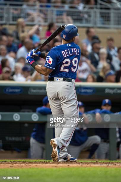 Adrian Beltre of the Texas Rangers bats against the Minnesota Twins on August 5 2017 at Target Field in Minneapolis Minnesota The Rangers defeated...