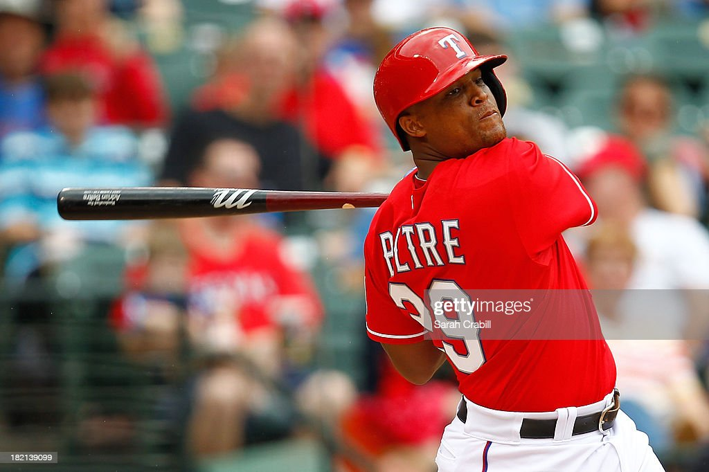 <a gi-track='captionPersonalityLinkClicked' href=/galleries/search?phrase=Adrian+Beltre&family=editorial&specificpeople=202631 ng-click='$event.stopPropagation()'>Adrian Beltre</a> #29 of the Texas Rangers bats during a game against the Los Angeles Angels of Anaheim at Rangers Ballpark in Arlington on September 28, 2013 in Arlington, Texas. The Texas Rangers defeated the Los Angeles Angels of Anaheim 7-4.