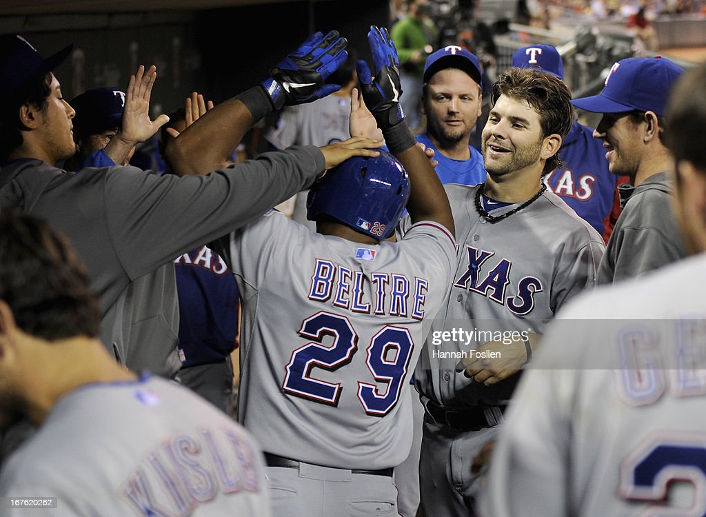 <a gi-track='captionPersonalityLinkClicked' href=/galleries/search?phrase=Adrian+Beltre&family=editorial&specificpeople=202631 ng-click='$event.stopPropagation()'>Adrian Beltre</a> #29 of the Texas Rangers celebrates a solo home run against the Minnesota Twins during the sixth inning of the game on April 26, 2013 at Target Field in Minneapolis, Minnesota.