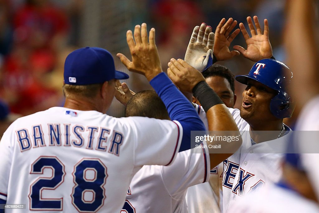 Adrian Beltre #29 of the Texas Rangers celebrates after hitting a home run to complete the cycle in the fifth inning during a game against the Houston Astros at Globe Life Park in Arlington on August 3, 2015 in Arlington, Texas.