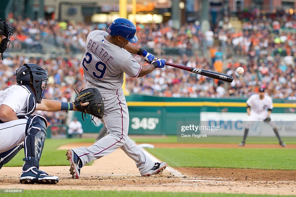 <a gi-track='captionPersonalityLinkClicked' href=/galleries/search?phrase=Adrian+Beltre&family=editorial&specificpeople=202631 ng-click='$event.stopPropagation()'>Adrian Beltre</a> #29 of the Texas Rangers get an RBI single in the third inning during a MLB game against the Detroit Tigers at Comerica Park on August 22, 2015 in Detroit, Michigan.