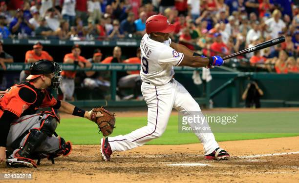Adrian Beltre of the Texas Rangers gets career hit number 2999 with a single against the Baltimore Orioles during the fourth inning at Globe Life...