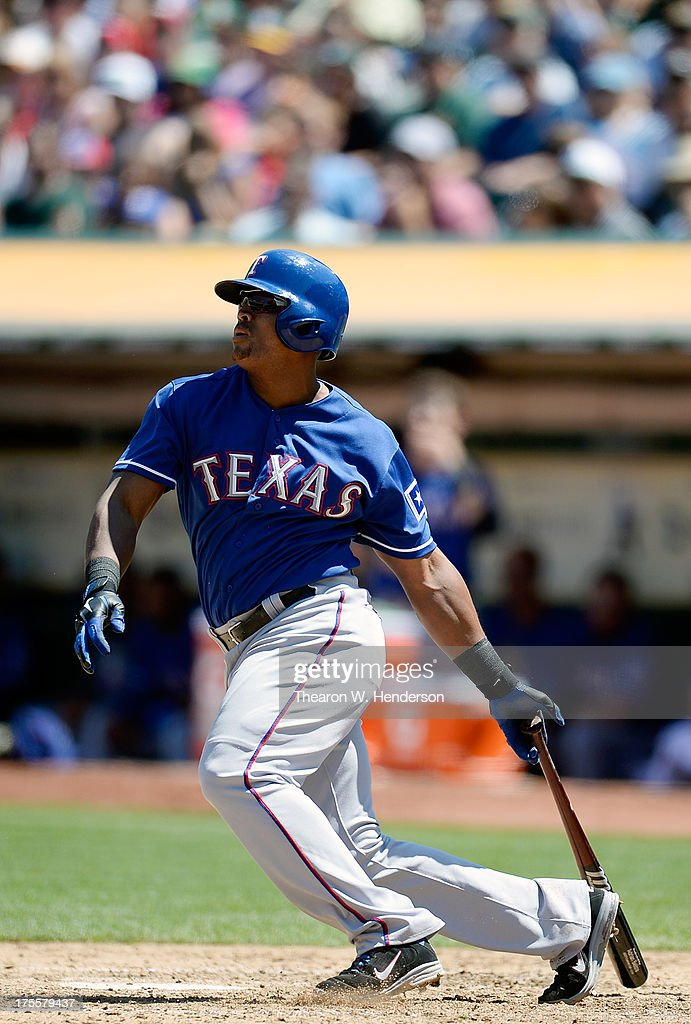<a gi-track='captionPersonalityLinkClicked' href=/galleries/search?phrase=Adrian+Beltre&family=editorial&specificpeople=202631 ng-click='$event.stopPropagation()'>Adrian Beltre</a> #29 of the Texas Rangers hits a single in the sixth inning against the Oakland Athletics at O.co Coliseum on August 4, 2013 in Oakland, California.