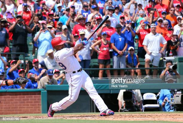 Adrian Beltre of the Texas Rangers hits his 3000th Major League Baseball career hit in the fourth inning against the Baltimore Orioles at Globe Life...