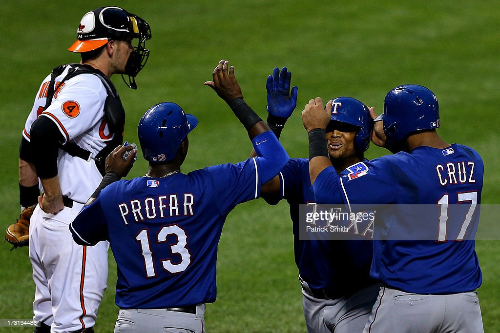 <a gi-track='captionPersonalityLinkClicked' href=/galleries/search?phrase=Adrian+Beltre&family=editorial&specificpeople=202631 ng-click='$event.stopPropagation()'>Adrian Beltre</a> #29 of the Texas Rangers is greeted at home plate by teammates <a gi-track='captionPersonalityLinkClicked' href=/galleries/search?phrase=Jurickson+Profar&family=editorial&specificpeople=2253684 ng-click='$event.stopPropagation()'>Jurickson Profar</a> #13 and <a gi-track='captionPersonalityLinkClicked' href=/galleries/search?phrase=Nelson+Cruz&family=editorial&specificpeople=235459 ng-click='$event.stopPropagation()'>Nelson Cruz</a> #17 after hitting a home run against the Baltimore Orioles in the fifth inning at Oriole Park at Camden Yards on July 9, 2013 in Baltimore, Maryland. The Texas Rangers won, 8-4.