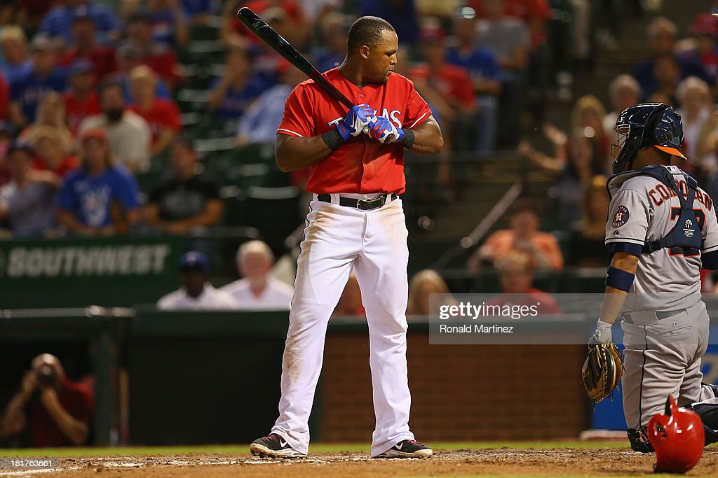 Adrian Beltre #29 of the Texas Rangers looks back after being hit by a pitch from Joshua Zeid #61 of the Houston Astros in the 8th inning at Rangers Ballpark in Arlington on September 24, 2013 in Arlington, Texas.