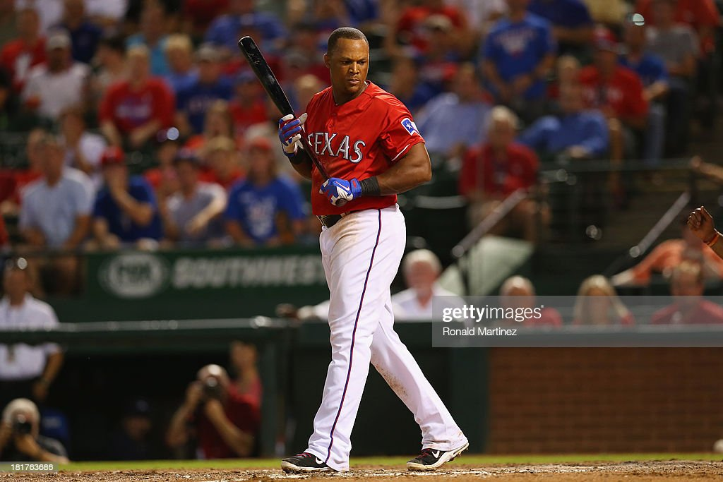 <a gi-track='captionPersonalityLinkClicked' href=/galleries/search?phrase=Adrian+Beltre&family=editorial&specificpeople=202631 ng-click='$event.stopPropagation()'>Adrian Beltre</a> #29 of the Texas Rangers looks back after being hit by a pitch from Joshua Zeid #61 of the Houston Astros in the 8th inning at Rangers Ballpark in Arlington on September 24, 2013 in Arlington, Texas.