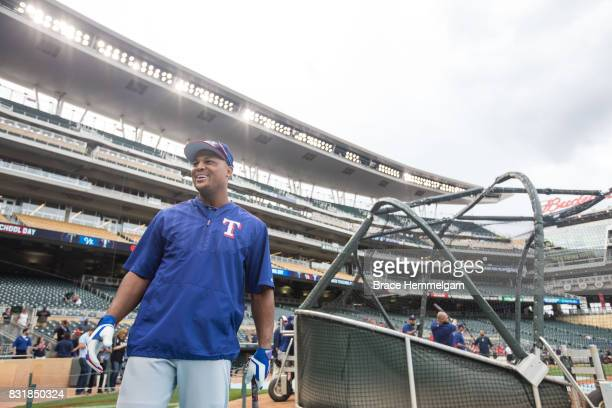 Adrian Beltre of the Texas Rangers looks on prior to the game against the Minnesota Twins on August 5 2017 at Target Field in Minneapolis Minnesota...