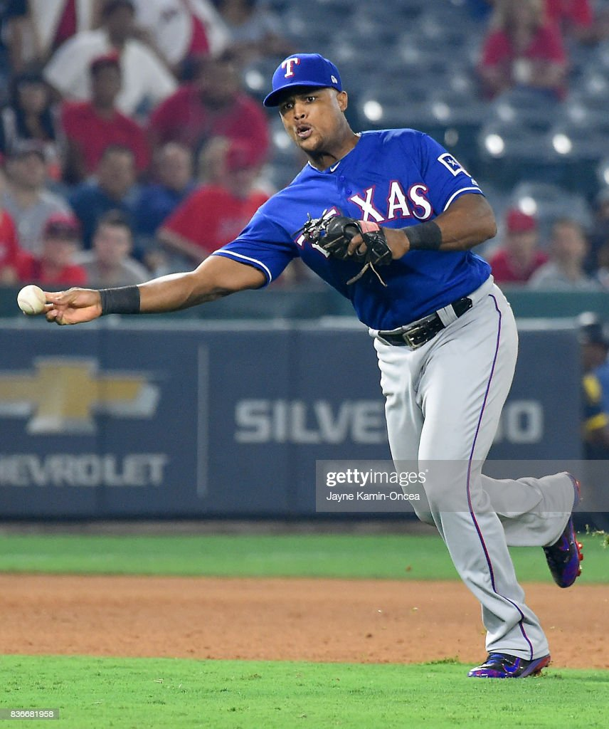 Adrian Beltre #29 of the Texas Rangers makes a play at third as he throws out Cameron Maybin #9 of the Los Angeles Angels of Anaheim in the ninth inning of the game at Angel Stadium of Anaheim on August 21, 2017 in Anaheim, California.