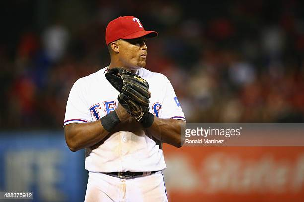 Adrian Beltre of the Texas Rangers on third base during play against the Houston Astros at Globe Life Park in Arlington on September 15 2015 in...