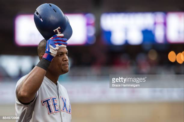 Adrian Beltre of the Texas Rangers tips his cap and acknowledges a fan ovation against the Minnesota Twins on August 3 2017 at Target Field in...
