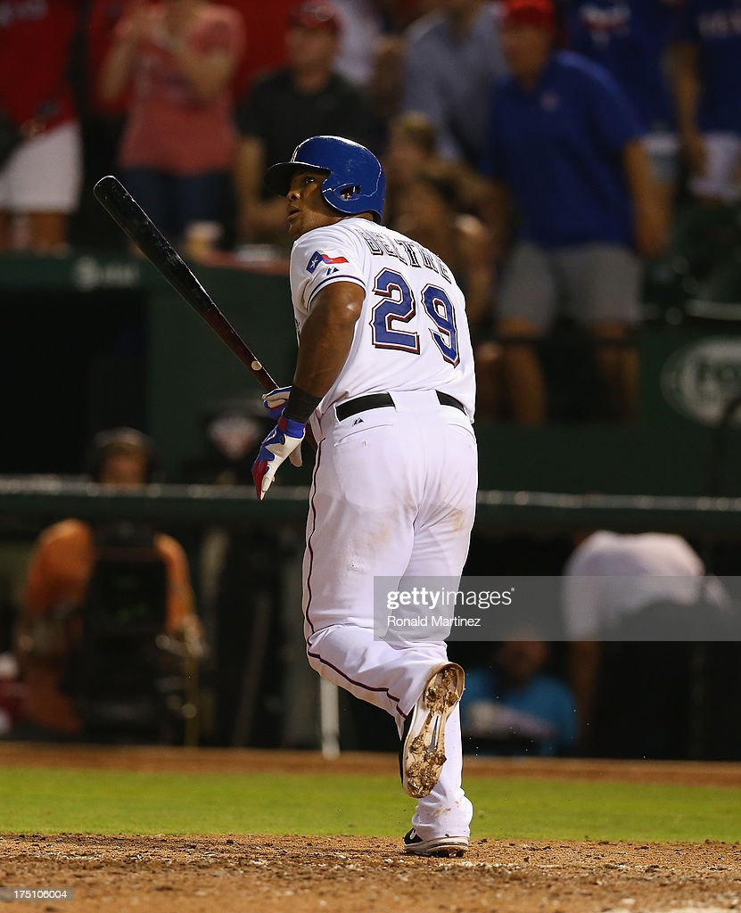 Adrian Beltre #29 of the Texas Rangers watches his walk off homerun against the Los Angeles Angels at Rangers Ballpark in Arlington on July 31, 2013 in Arlington, Texas.