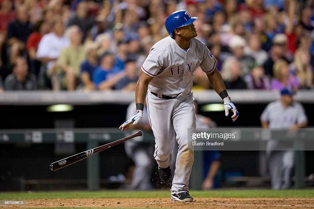 Adrian Beltre #29 of the Texas Rangers watches the flight of a seventh inning solo homerun off of Tyler Anderson #44 of the Colorado Rockies during a game at Coors Field on August 8, 2016 in Denver, Colorado.