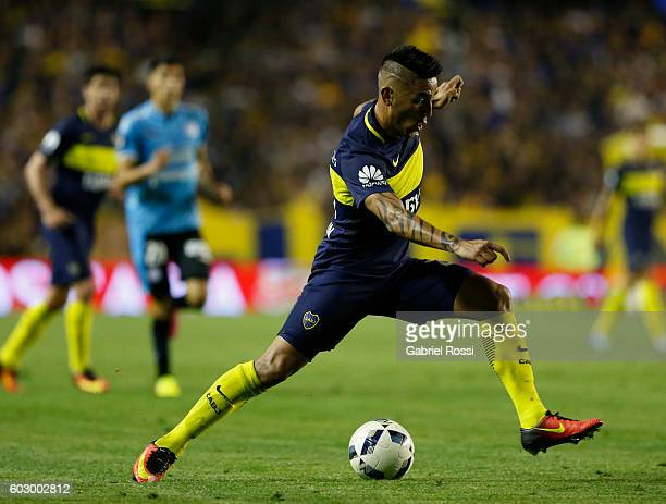 Adrian Centurion of Boca Juniors drives the ball during a match between Boca Juniors and Belgrano as part of second round of Campeonato de Primera...
