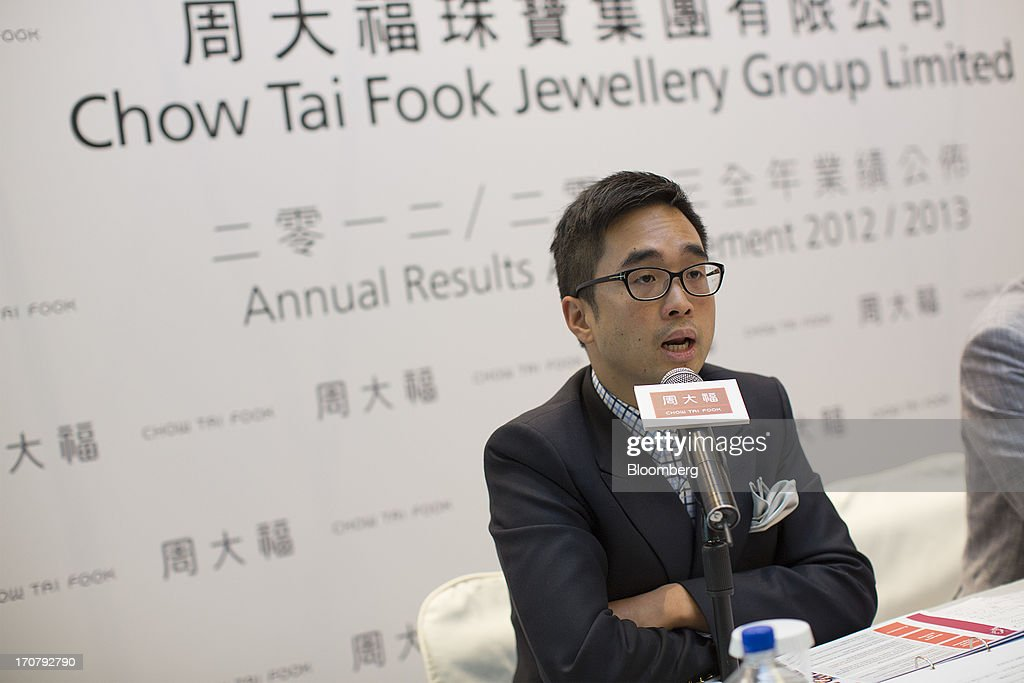 Adrian Cheng, executive director of Chow Tai Fook Jewellery Group Ltd., speaks during the companys annual results news conference in Hong Kong, China, on Tuesday, June 18, 2013. Chow Tai Fook, the worlds largest listed jewelry chain, reported a 13 percent decline in profit on higher costs and weaker consumer spending. Photographer: Jerome Favre/Bloomberg via Getty Images