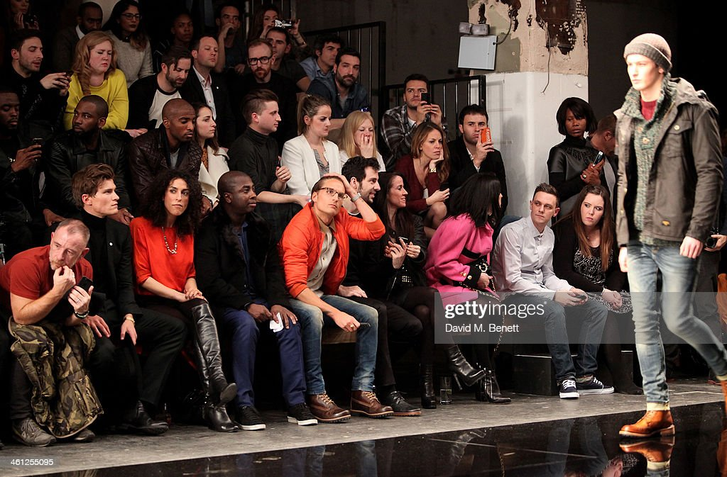 Adrian Clark Oliver Cheshire guest guest Oliver Proudlock Ralf Little Liberty Shaw Amy Molyneaux and guests sit in the front row during the Superdry...