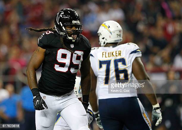 Adrian Clayborn of the Atlanta Falcons reacts after sacking Philip Rivers of the San Diego Chargers at Georgia Dome on October 23 2016 in Atlanta...