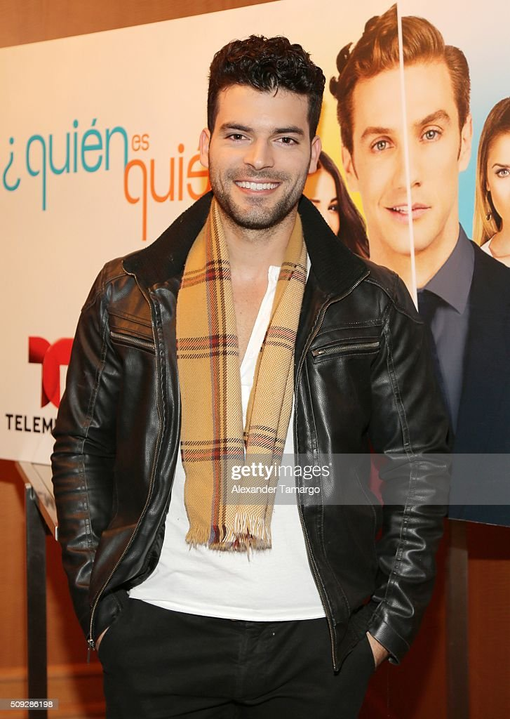 Adrian Di Monte is seen at the premier of Telemundo's 'Quien es Quien' at the Four Seasons on February 9, 2016 in Miami, Florida.