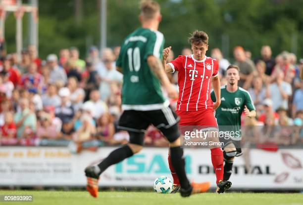 Adrian Fein of Bayern in action during the preseason friendly match between BCF Wolfratshausen and Bayern Muenchen at on July 6 2017 in...