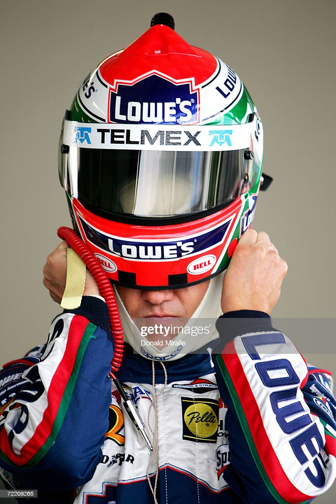 Adrian Fernandez of Mexico driver of the Lowe's Chevrolet Monte Carlo puts on his helmet on during the practice for the Telcel Mexico 200 Nascar...