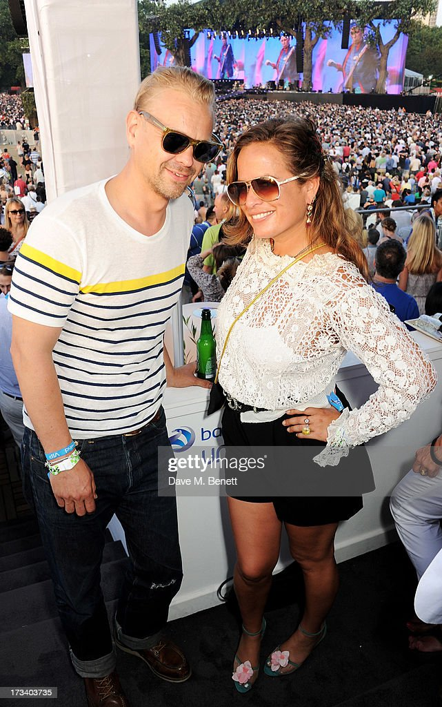 Adrian Fillary (L) and Jade Jagger attend the Barclaycard UNWIND VIP lounge at British Summer Time Hyde Park presented by Barclaycard on July 13, 2013 in London, England.