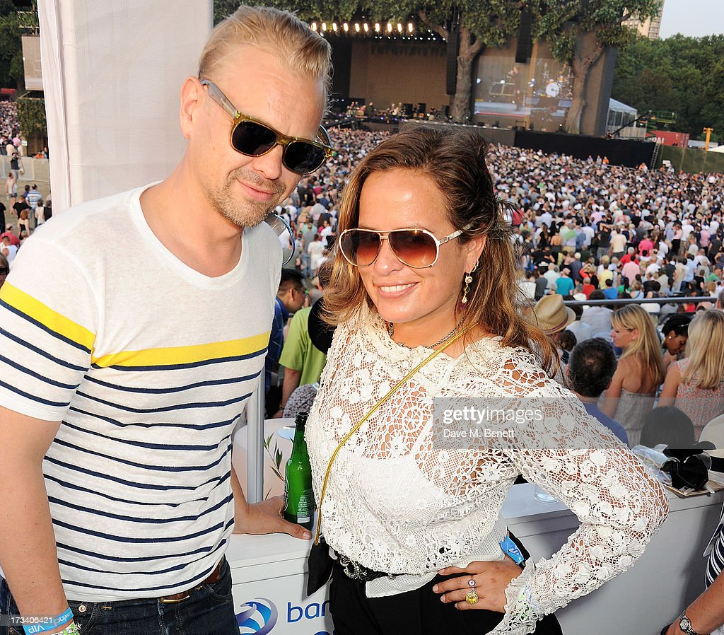 Adrian Fillary (L) and <a gi-track='captionPersonalityLinkClicked' href=/galleries/search?phrase=Jade+Jagger&family=editorial&specificpeople=203052 ng-click='$event.stopPropagation()'>Jade Jagger</a> attend the Barclaycard UNWIND VIP lounge at British Summer Time Hyde Park presented by Barclaycard on July 13, 2013 in London, England.