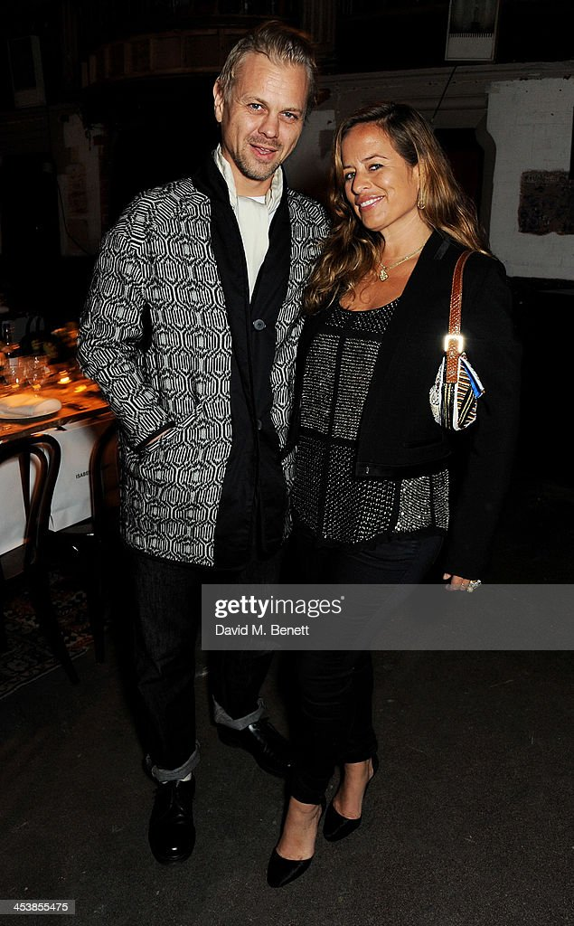 Adrian Fillary (L) and <a gi-track='captionPersonalityLinkClicked' href=/galleries/search?phrase=Jade+Jagger&family=editorial&specificpeople=203052 ng-click='$event.stopPropagation()'>Jade Jagger</a> attend the Isabel Marant London dinner and party on December 5, 2013 in London, United Kingdom.