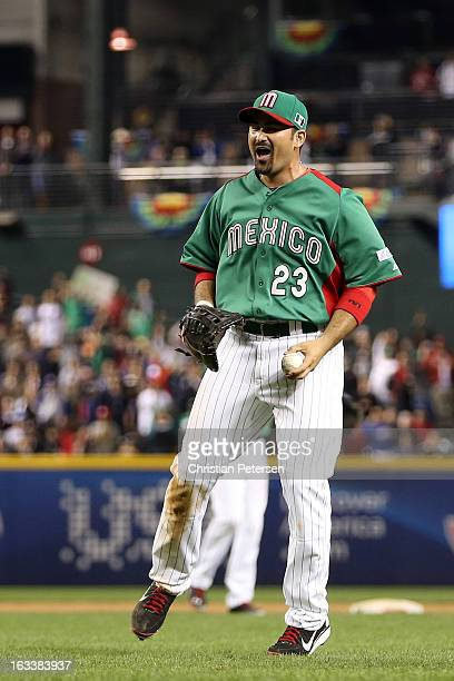 Adrian Gonzalez of Mexico celebrates after Mexico won 52 against the United States during the World Baseball Classic First Round Group D game at...