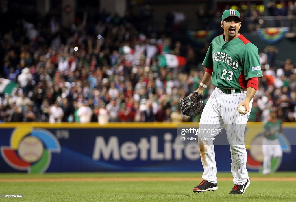 Adrian Gonzalez #23 of Mexico celebrates after Mexico won 5-2 against the United States during the World Baseball Classic First Round Group D game at Chase Field on March 8, 2013 in Phoenix, Arizona.