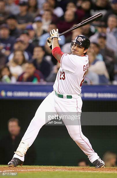 Adrian Gonzalez of Team Mexico bats against Team USA during the Round 2 Pool 2 Game of the World Baseball Classic at Angel Stadium on March 16 2006...