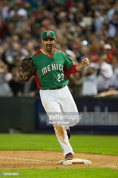 Adrian Gonzalez of Team Mexico celebrates after defeating Team USA in Pool D Game 3 at Chase Field on Friday March 8 2013 in Phoenix Arizona