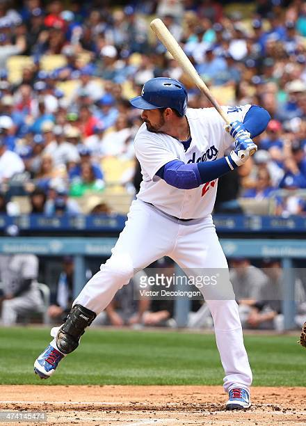 Adrian Gonzalez of the Los Angeles Dodgers bats in the first inning during the MLB game against the Colorado Rockies at Dodger Stadium on May 17 2015...