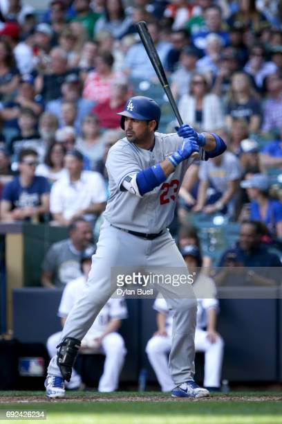 Adrian Gonzalez of the Los Angeles Dodgers bats in the seventh inning against the Milwaukee Brewers at Miller Park on June 3 2017 in Milwaukee...
