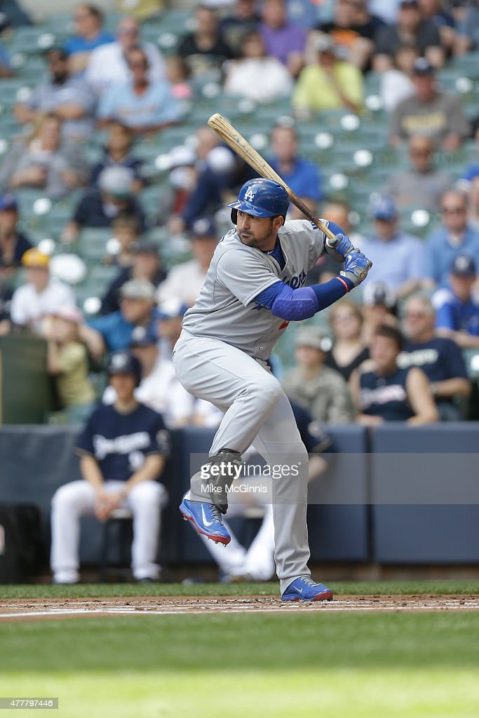 Adrian Gonzalez of the Los Angeles Dodgers gets ready for the next pitch during the game against the Milwaukee Brewers at Miller Park on May 07 2015...