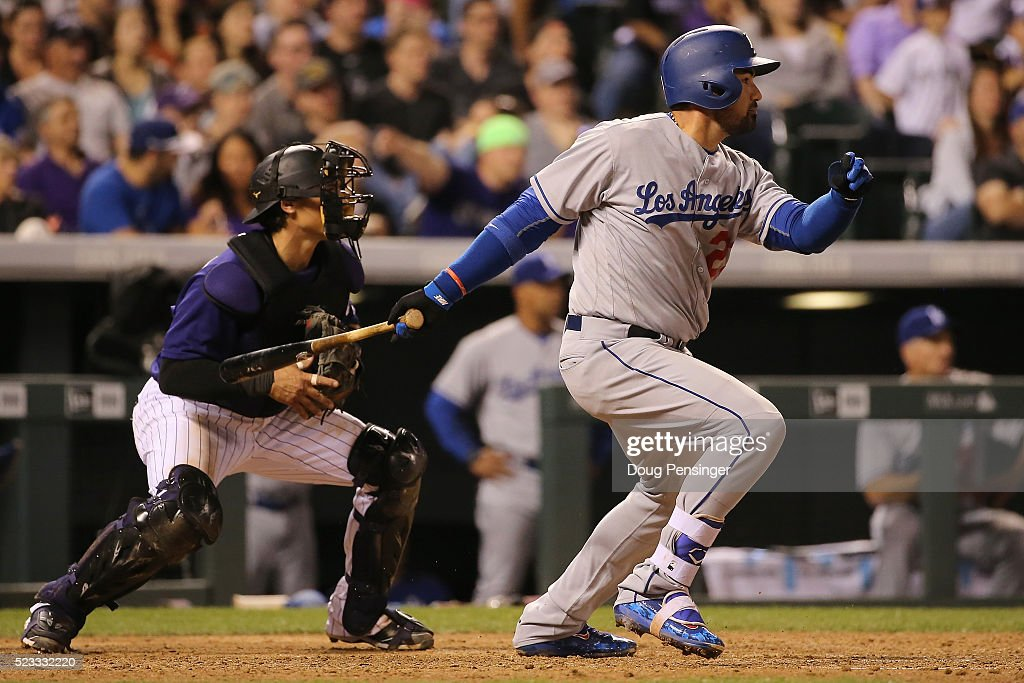 Adrian Gonzalez of the Los Angeles Dodgers hits a two RBI single off of Jon Gray of the Colorado Rockies to take a 54 lead as catcher Tony Wolters...
