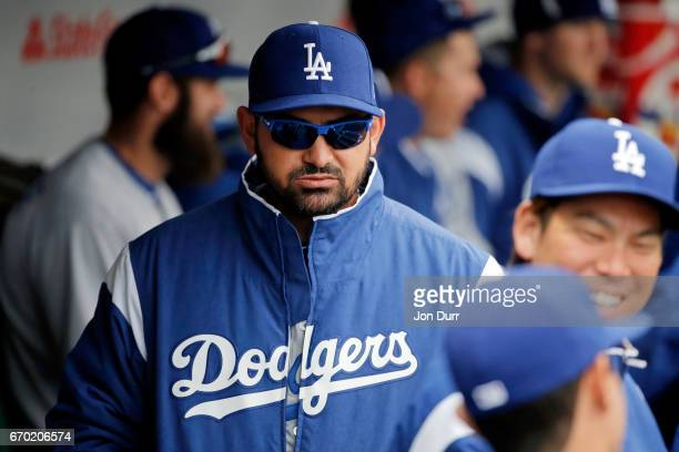 Adrian Gonzalez of the Los Angeles Dodgers in the dugout before the game against the Chicago Cubs at Wrigley Field on April 13 2017 in Chicago...